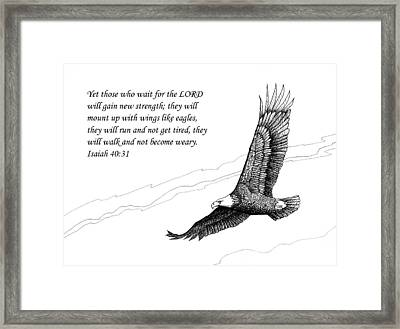 Framed Print featuring the drawing Wait For The Lord by Janet King