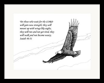 Scripture With Eagle In Flight Framed Prints