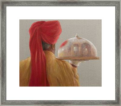Waiter, Rambagh Palace, 2010 Acrylic On Canvas Framed Print by Lincoln Seligman