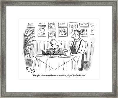 Waiter Reads The Specials To A Man At Dinner Framed Print
