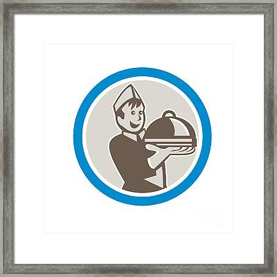 Waiter Serving Food On Platter Retro Framed Print by Aloysius Patrimonio