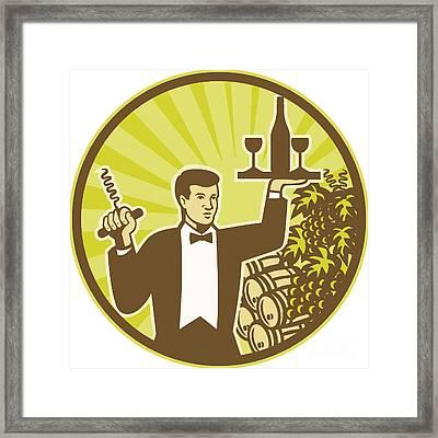 Waiter Serving Wine Grapes Barrel Retro Framed Print by Aloysius Patrimonio