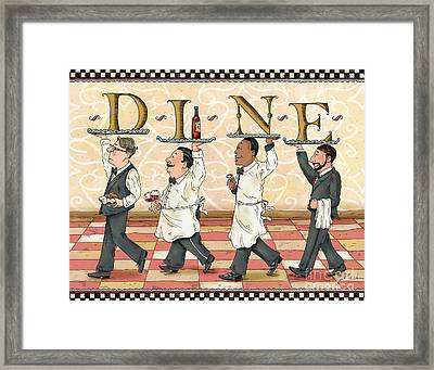 Waiters Dine Framed Print by Shari Warren