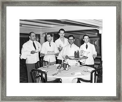 Waiters On Ss President Monroe. Framed Print by Underwood Archives