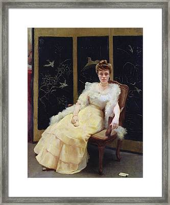 Waiting, 1901 Oil On Canvas Framed Print by Ernst Philippe Zacharie