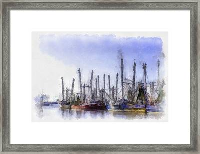 Waiting At Dock Framed Print by Barry Jones