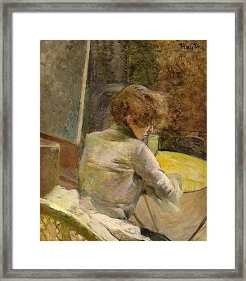 Waiting At Grenelle Framed Print by Henri de Toulouse-Lautrec