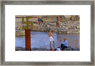 Waiting At The River Ganges Framed Print by Russell Smidt