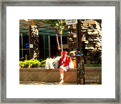 Waiting At The Stop Stationnement Debarcadere Seulement Urban Montreal City Scene Carole Spandau Framed Print by Carole Spandau