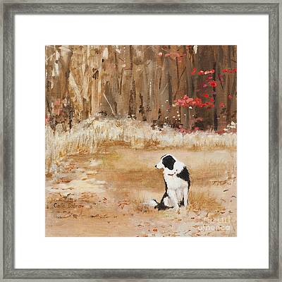 Waiting At Woods Edge Framed Print by Carla Dabney