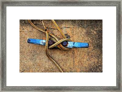 Waiting - Boat Tie Cleat By Sharon Cummings Framed Print by Sharon Cummings