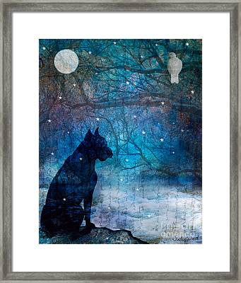 Waiting By The Night River Framed Print by Judy Wood