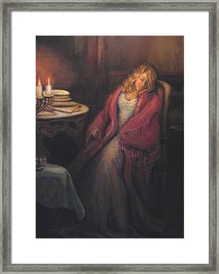 Framed Print featuring the painting Waiting by Donna Tucker