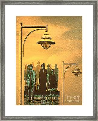 Framed Print featuring the digital art Waiting Folks In The Evening by Mojo Mendiola