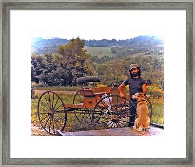 Waiting For A Lift On The Old Buckboard Framed Print by Patricia Keller