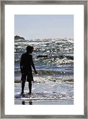 Waiting For A Wave 25602 Framed Print by Jerry Sodorff