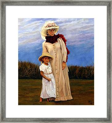 Framed Print featuring the painting Waiting For Dad's Return by Rick Fitzsimons