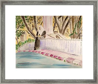 Waiting For Her Ride - Jerusalem Framed Print by Linda Feinberg