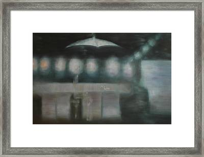 Framed Print featuring the painting Waiting For... by Min Zou