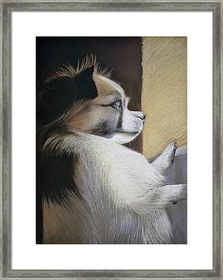 Waiting For Mommy Pastel Framed Print
