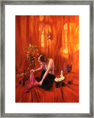 Warming Up The Mermaid Framed Print