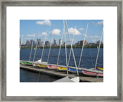 Waiting For Sailors On The Charles Framed Print