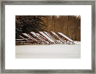 Waiting For Summer - Picnic Tables Framed Print by Mary Machare