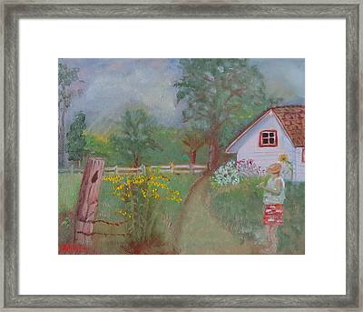 Framed Print featuring the painting Waiting For The Light by Sharon Schultz