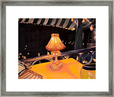 Framed Print featuring the painting Waiting For The Show To Start by Julie Todd-Cundiff