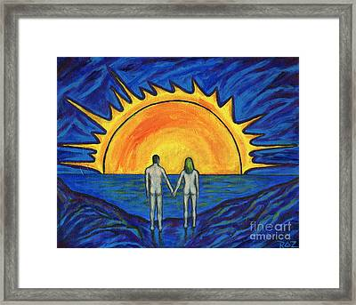 Framed Print featuring the painting Waiting For The Sun by Roz Abellera Art