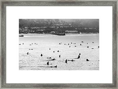 Waiting For The Waves Framed Print by John Rizzuto