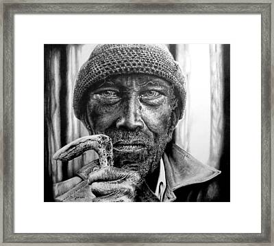 Framed Print featuring the drawing Man With Cane by Geni Gorani