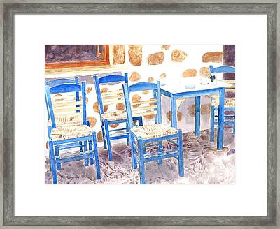 Waiting For Tourists - Patmos Framed Print by Ralph Kingery