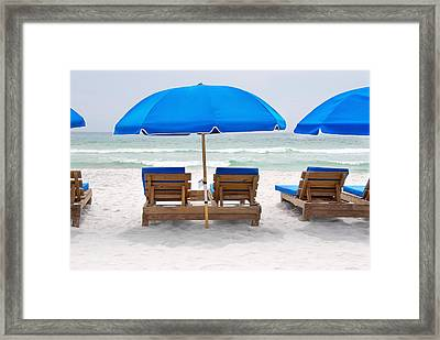 Framed Print featuring the photograph Panama City Beach Florida Empty Chairs by Vizual Studio