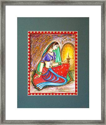 Framed Print featuring the painting Waiting  by Harsh Malik