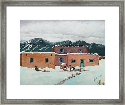 Waiting In Taos Framed Print by Mary Anne Civiok
