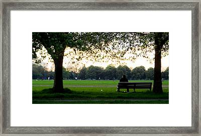 Waiting In The Bench Framed Print