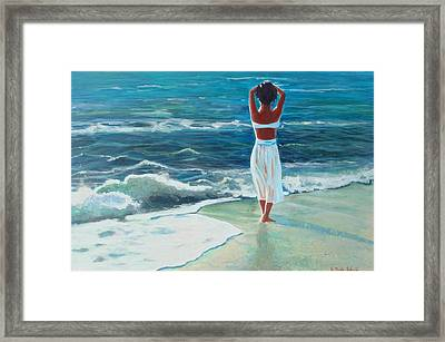 Waiting On The Shore Framed Print by Susan Duda
