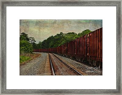 Waiting On The Tracks Framed Print by Deborah Benoit