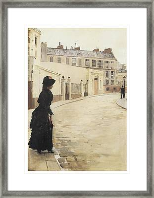 Waiting Paris Rue De Chanteaubriand Framed Print by Jean Beraud