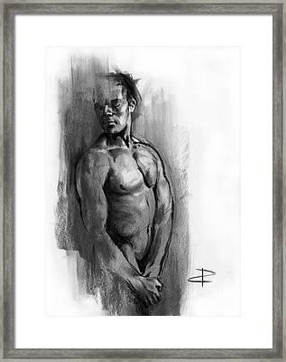 Framed Print featuring the drawing Waiting by Paul Davenport