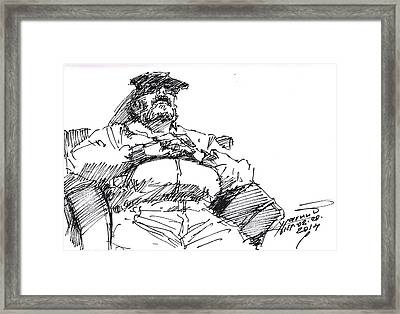 Waiting Room Nap Sketch Framed Print