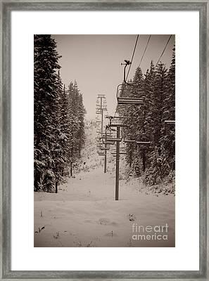 Waiting Ski Lifts Framed Print by Cari Gesch