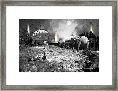 Waiting To Be Abducted By The Visitors At The Chabot Space And Science Center In Oakland Dsc912 Bw Framed Print by Wingsdomain Art and Photography