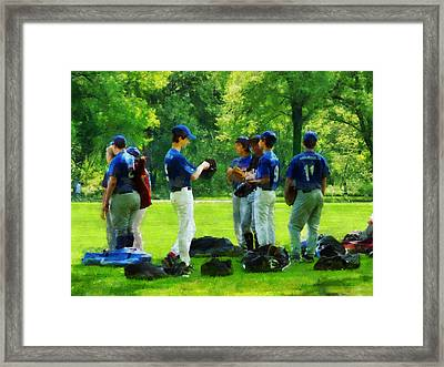 Waiting To Go To Bat Framed Print by Susan Savad