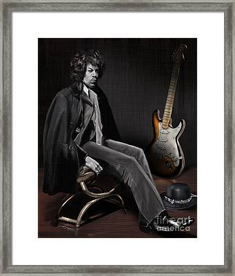 Waiting To Play - The  Jimi Hendrix Series Framed Print by Reggie Duffie