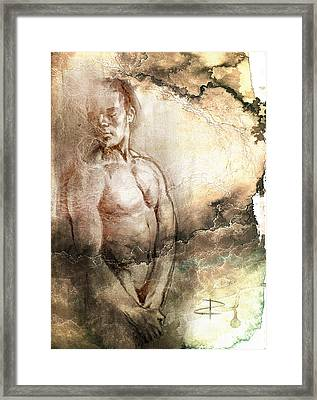 Framed Print featuring the drawing Waiting With Mood Texture by Paul Davenport