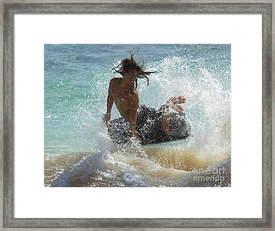 Wake Boarder Hawaii Framed Print by Bob Christopher