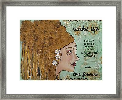 Wake Up Inspirational Mixed Media Folk Art Framed Print