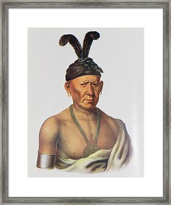 Wakechai Or Crouching Eagle, A Sauk Chief, Illustration From The Indian Tribes Of North America Framed Print by Charles Bird King